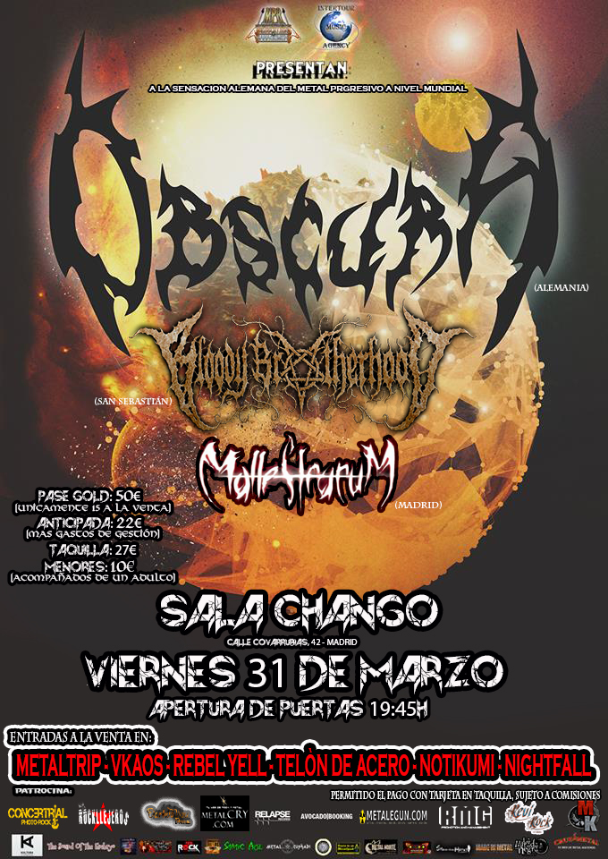 Obscura + Bloody Brotherhood + Malleficarum en Madrid 31/03/2017